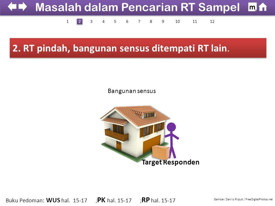 2. RT pindah, bangunan sensus ditempati RT lain.