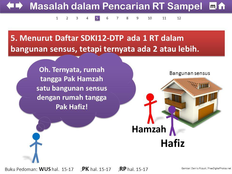 5. Menurut Daftar SDKI12-DTP ada 1 RT dalam bangunan sensus, tetapi ternyata ada 2 atau lebih. Hafiz Hamzah Oh. Ternyata, rumah tangga Pak Hamzah satu