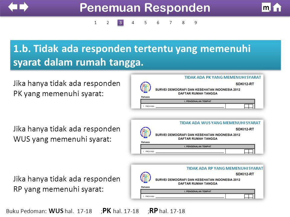 1.b. Tidak ada responden tertentu yang memenuhi syarat dalam rumah tangga. 100% SDKI 2012 Penemuan Responden m 1426 3 3 8579 Buku Pedoman: WUS hal. 17