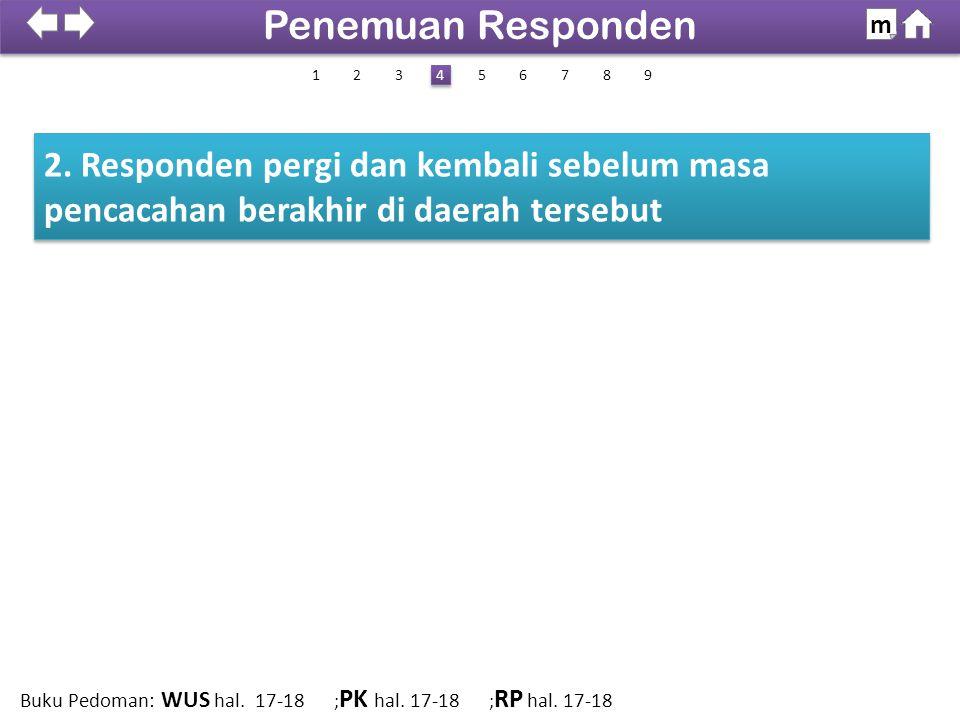 2. Responden pergi dan kembali sebelum masa pencacahan berakhir di daerah tersebut 100% SDKI 2012 Penemuan Responden m 1 4 4 2638579 Buku Pedoman: WUS