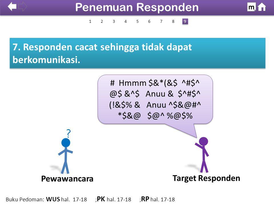 7. Responden cacat sehingga tidak dapat berkomunikasi.