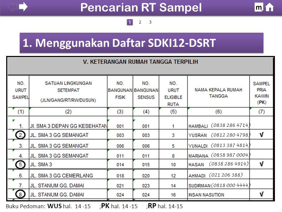 1. Menggunakan Daftar SDKI12-DSRT Pencarian RT Sampel m 1 1 (0838 286 4714) (0812 280 4798) (0813 387 4814) (0858 987 0004) (0838 286 4914) (021 206 3