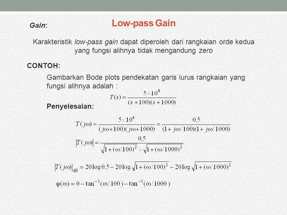 Low-pass Gain Karakteristik low-pass gain dapat diperoleh dari rangkaian orde kedua yang fungsi alihnya tidak mengandung zero CONTOH: Gambarkan Bode p