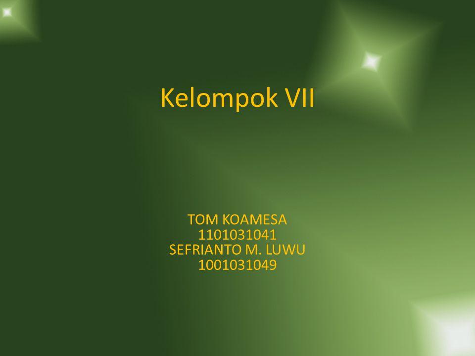 Kelompok VII TOM KOAMESA 1101031041 SEFRIANTO M. LUWU 1001031049