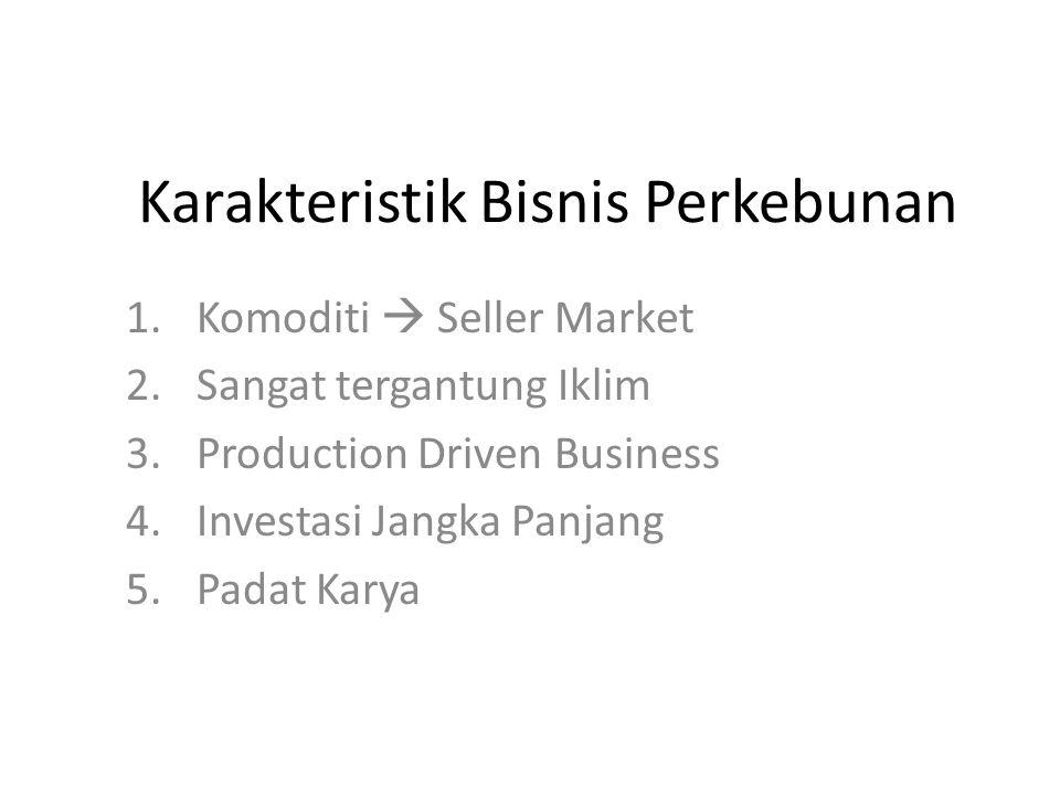 Karakteristik Bisnis Perkebunan 1.Komoditi  Seller Market 2.Sangat tergantung Iklim 3.Production Driven Business 4.Investasi Jangka Panjang 5.Padat K