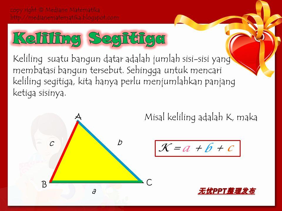 Luas segitiga dapat diperoleh dengan rumus luas persegi panjang.