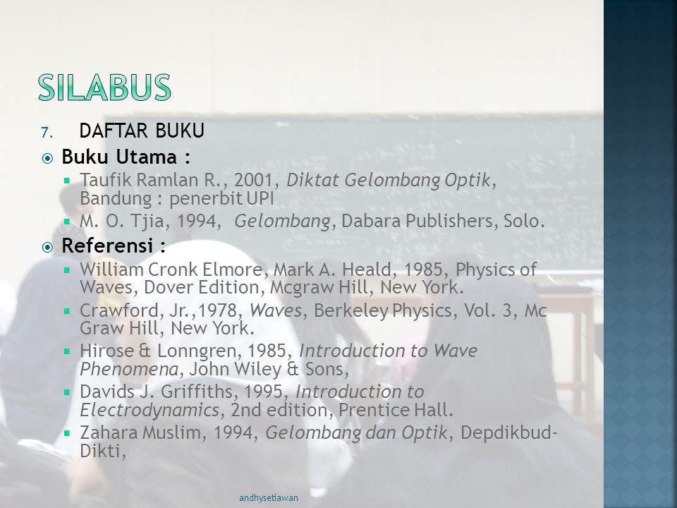 7. DAFTAR BUKU  Buku Utama :  Taufik Ramlan R., 2001, Diktat Gelombang Optik, Bandung : penerbit UPI  M. O. Tjia, 1994, Gelombang, Dabara Publisher