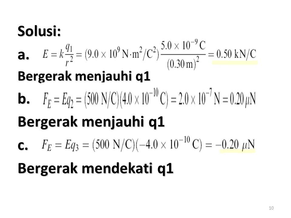 10 Solusi:a. Bergerak menjauhi q1 b. c. Bergerak mendekati q1