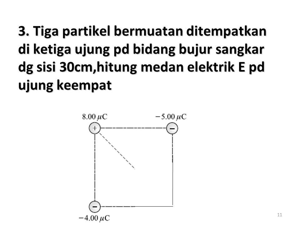 11 3. Tiga partikel bermuatan ditempatkan di ketiga ujung pd bidang bujur sangkar dg sisi 30cm,hitung medan elektrik E pd ujung keempat