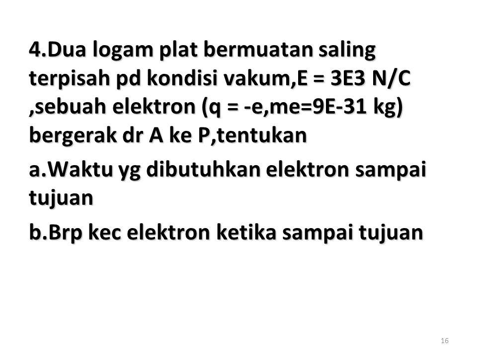 16 4.Dua logam plat bermuatan saling terpisah pd kondisi vakum,E = 3E3 N/C,sebuah elektron (q = -e,me=9E-31 kg) bergerak dr A ke P,tentukan a.Waktu yg