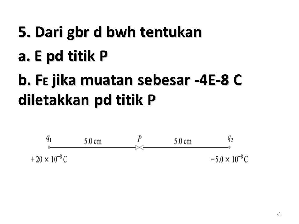 21 5. Dari gbr d bwh tentukan a. E pd titik P b. F E jika muatan sebesar -4E-8 C diletakkan pd titik P