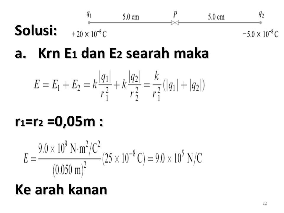 22 Solusi: a.Krn E 1 dan E 2 searah maka r 1 =r 2 =0,05m : Ke arah kanan