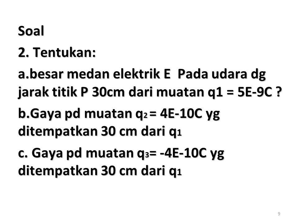 9 Soal 2. Tentukan: a.besar medan elektrik E Pada udara dg jarak titik P 30cm dari muatan q1 = 5E-9C ? b.Gaya pd muatan q 2 = 4E-10C yg ditempatkan 30