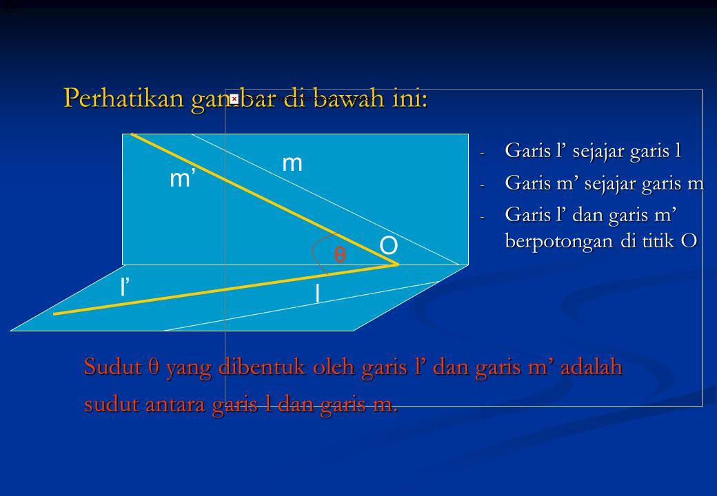 m l Perhatikan gambar di bawah ini: - Garis l' sejajar garis l - Garis m' sejajar garis m - Garis l' dan garis m' berpotongan di titik O m' l' O Sudut
