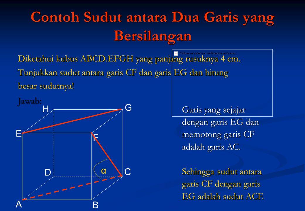 Contoh Sudut antara Dua Garis yang Bersilangan Diketahui kubus ABCD.EFGH yang panjang rusuknya 4 cm. Tunjukkan sudut antara garis CF dan garis EG dan