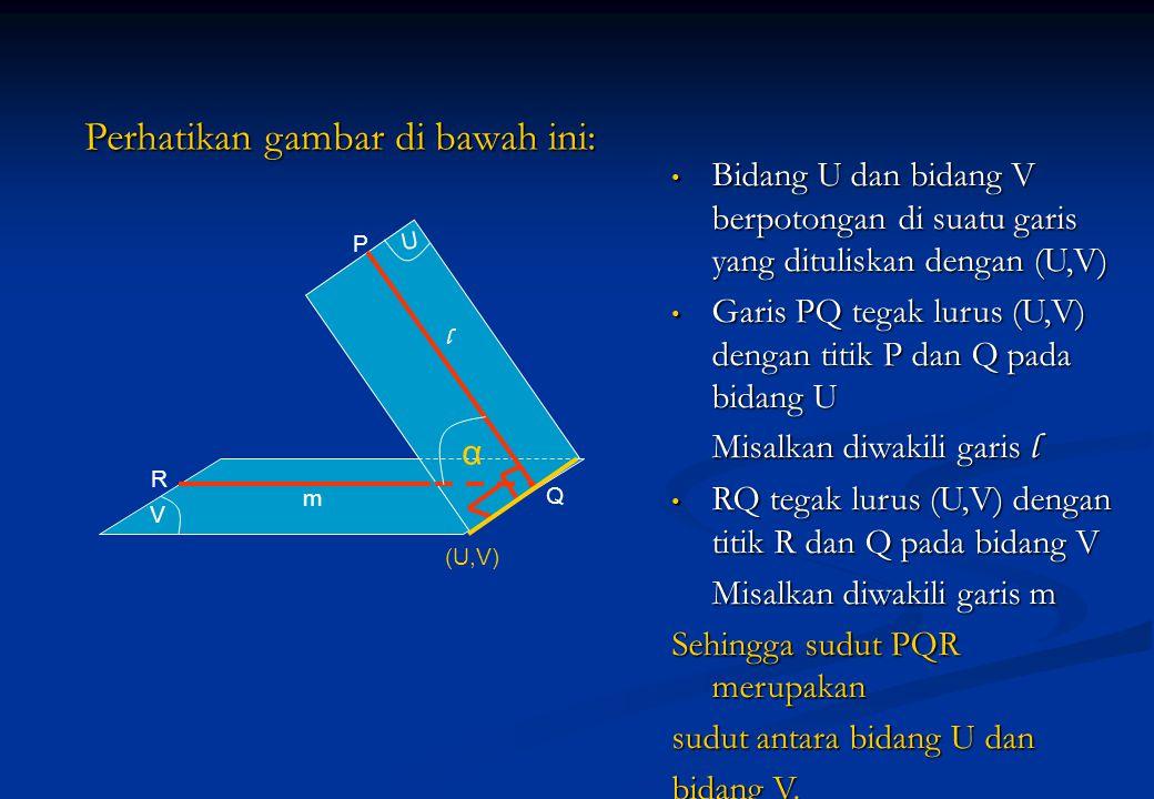 Perhatikan gambar di bawah ini: Bidang U dan bidang V berpotongan di suatu garis yang dituliskan dengan (U,V) Bidang U dan bidang V berpotongan di sua