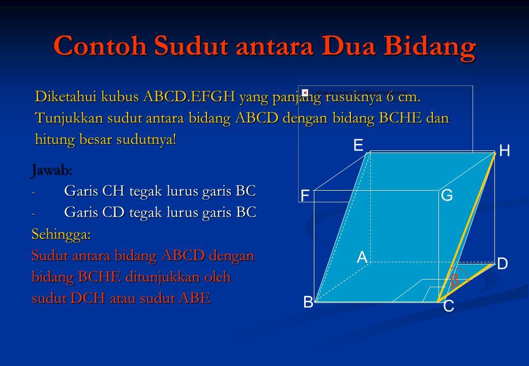 Contoh Sudut antara Dua Bidang Diketahui kubus ABCD.EFGH yang panjang rusuknya 6 cm. Tunjukkan sudut antara bidang ABCD dengan bidang BCHE dan hitung