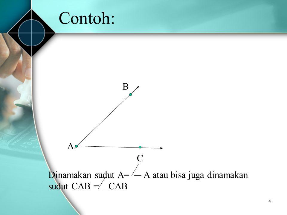 4 Contoh: A B C Dinamakan sudut A= A atau bisa juga dinamakan sudut CAB = CAB