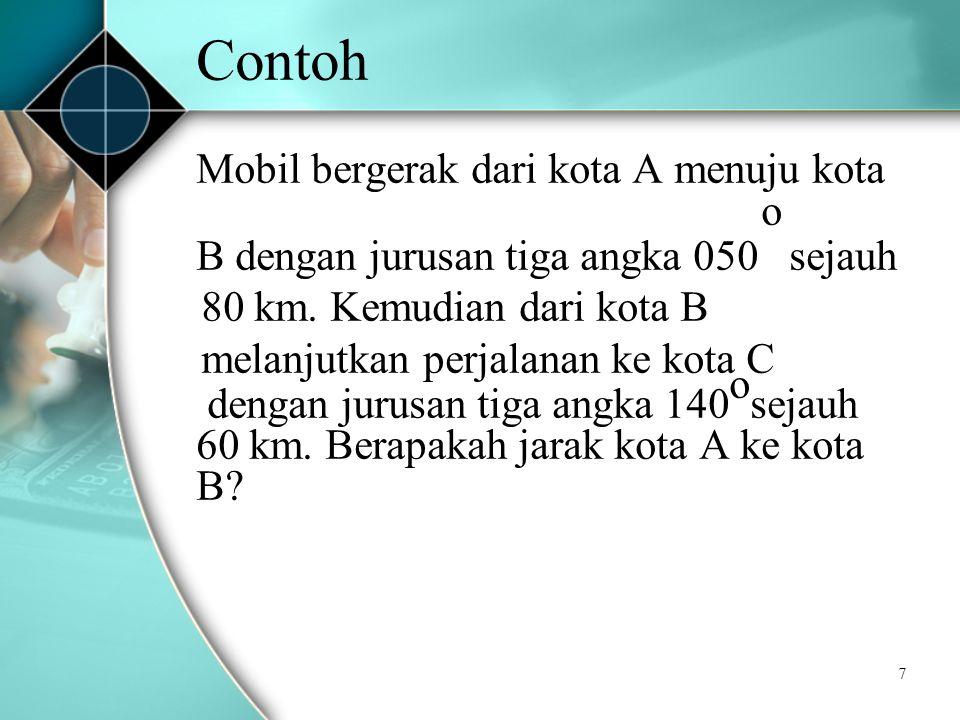7 Contoh Mobil bergerak dari kota A menuju kota o B dengan jurusan tiga angka 050 sejauh 80 km.