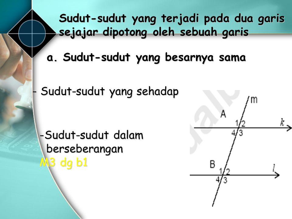 10 b. Sudut-sudut yang Jumlahnya 180° 1.Sudut dalam sepihak: 2. Sudut luar sepihak