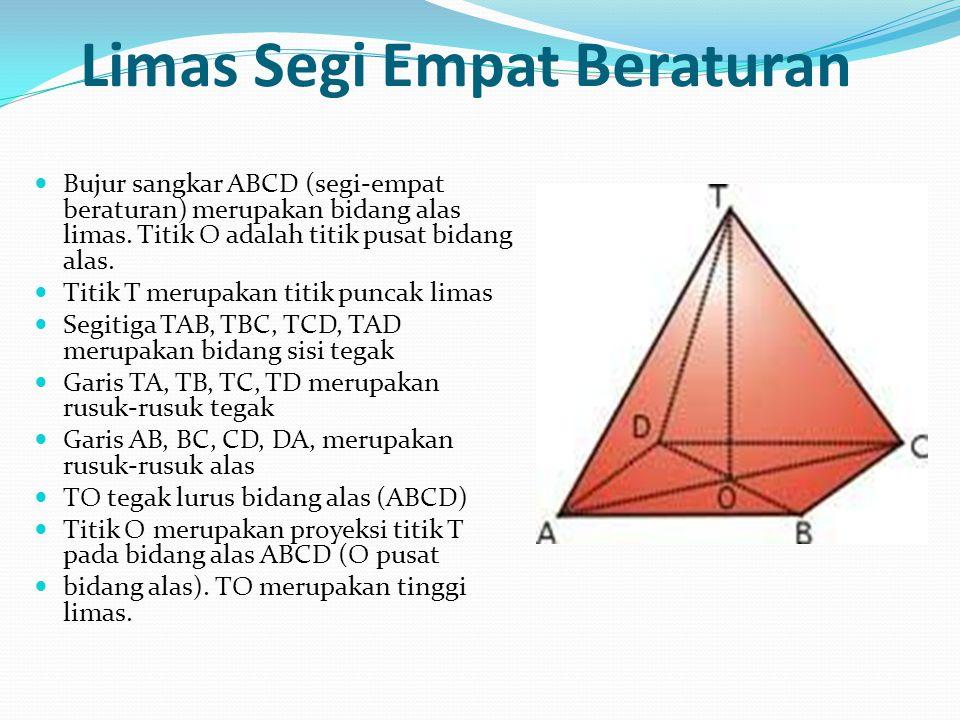 Limas Segi Empat Beraturan Bujur sangkar ABCD (segi-empat beraturan) merupakan bidang alas limas. Titik O adalah titik pusat bidang alas. Titik T meru