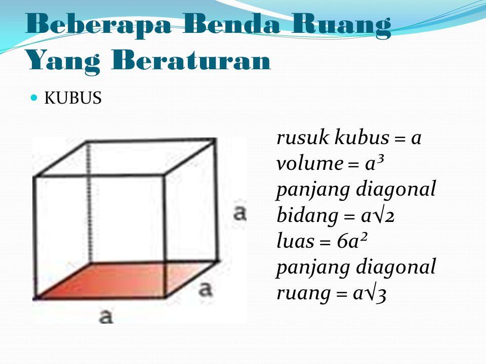 Beberapa Benda Ruang Yang Beraturan KUBUS rusuk kubus = a volume = a³ panjang diagonal bidang = a√2 luas = 6a² panjang diagonal ruang = a√3