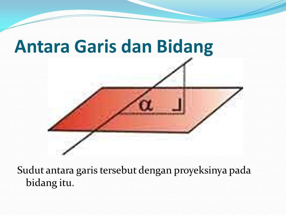 Antara Garis dan Bidang Sudut antara garis tersebut dengan proyeksinya pada bidang itu.