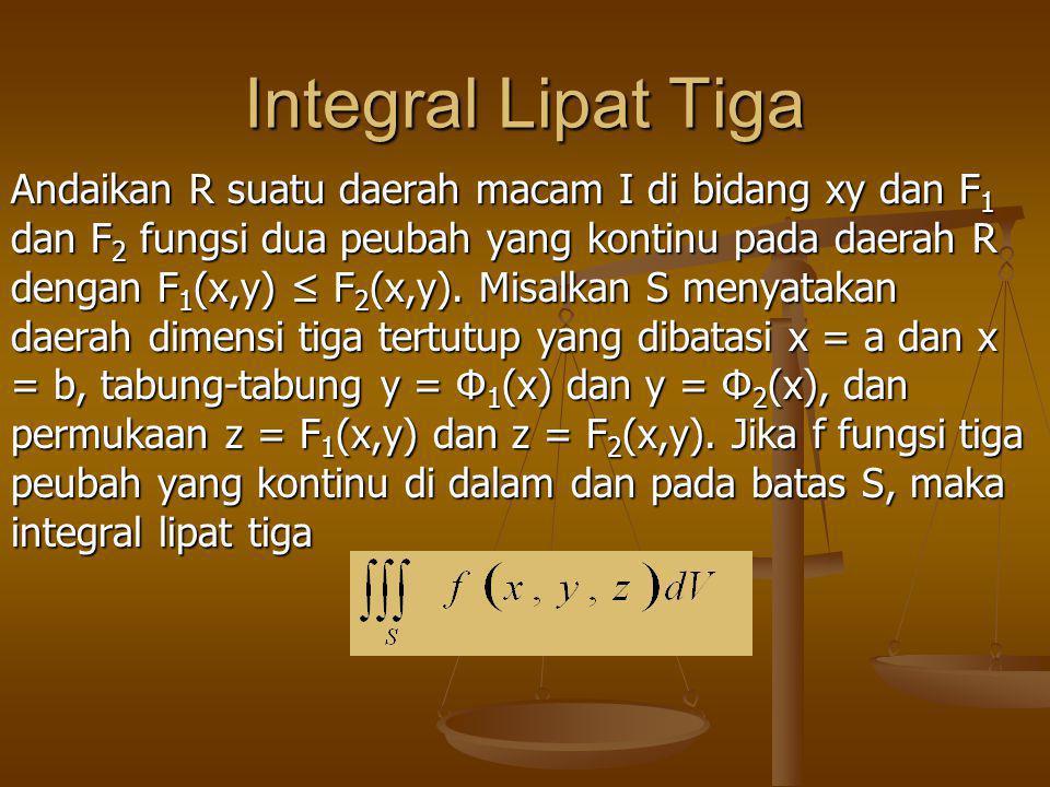 Integral Lipat Tiga Andaikan R suatu daerah macam I di bidang xy dan F 1 dan F 2 fungsi dua peubah yang kontinu pada daerah R dengan F 1 (x,y) ≤ F 2 (