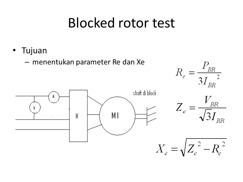 Blocked rotor test Tujuan – menentukan parameter Re dan Xe