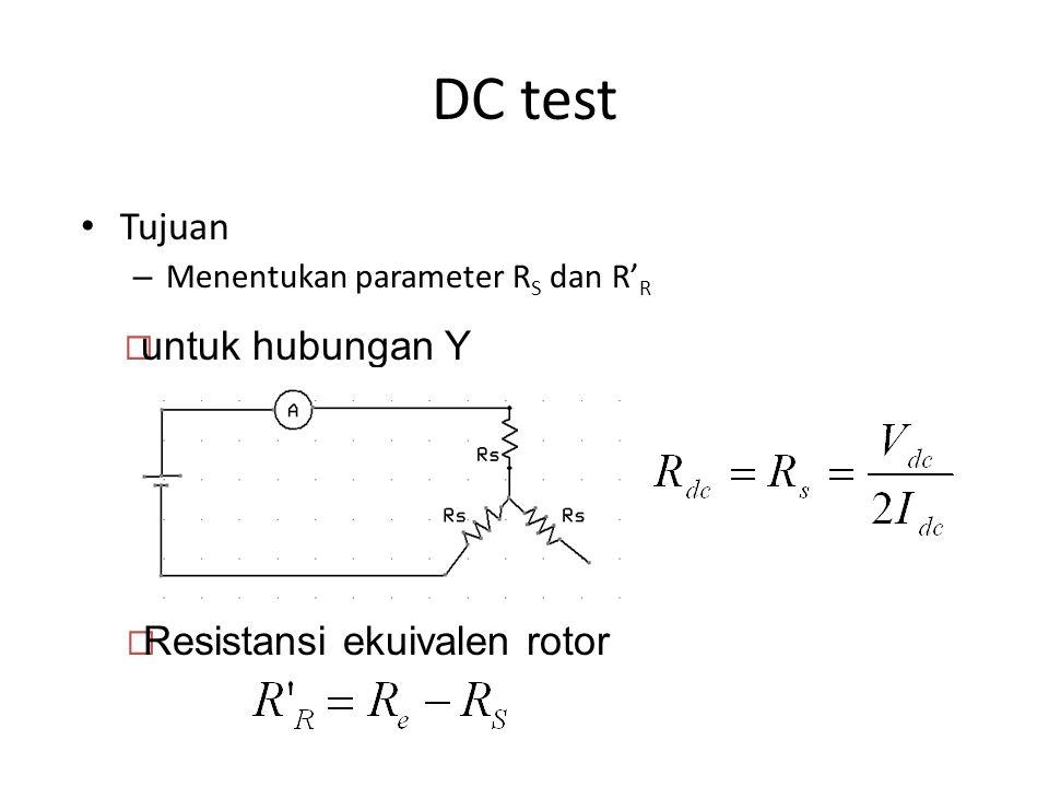 DC test Tujuan – Menentukan parameter R S dan R' R  Resistansi ekuivalen rotor  untuk hubungan Y