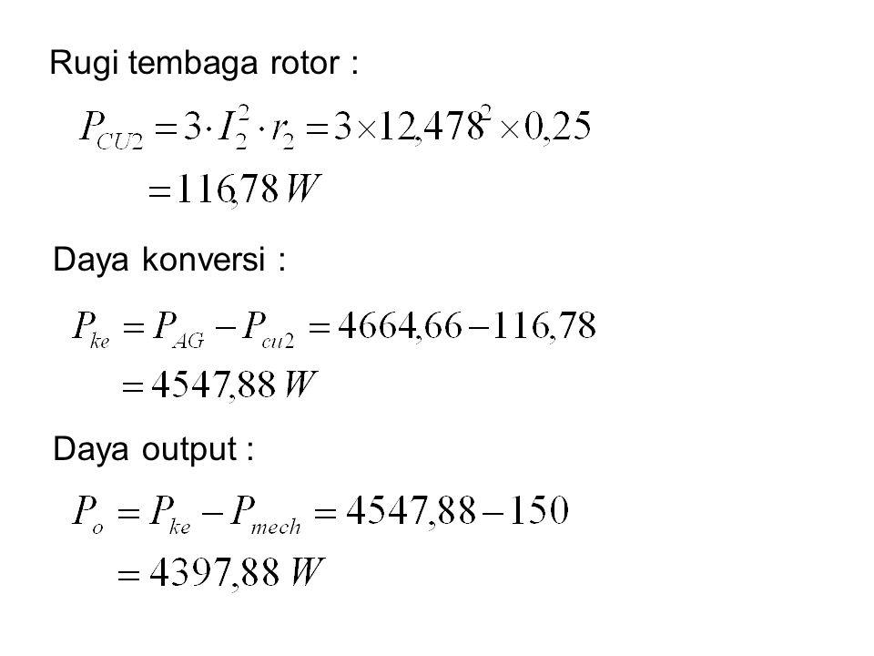 Daya konversi : Rugi tembaga rotor : Daya output :