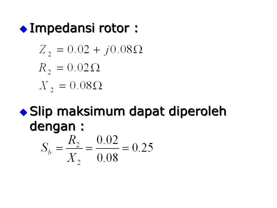  Impedansi rotor :  Slip maksimum dapat diperoleh dengan :