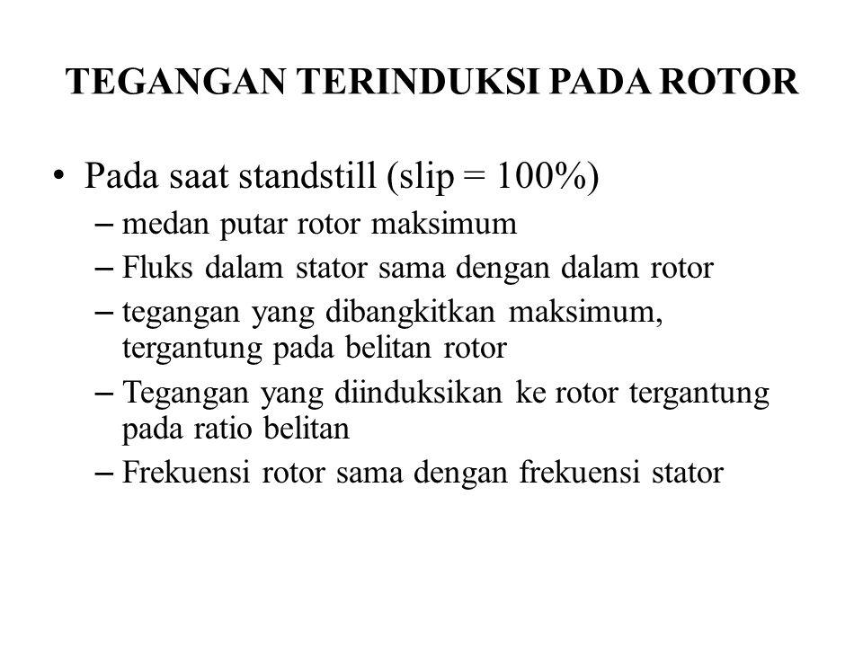 TEGANGAN TERINDUKSI PADA ROTOR Pada saat standstill (slip = 100%) – medan putar rotor maksimum – Fluks dalam stator sama dengan dalam rotor – tegangan yang dibangkitkan maksimum, tergantung pada belitan rotor – Tegangan yang diinduksikan ke rotor tergantung pada ratio belitan – Frekuensi rotor sama dengan frekuensi stator