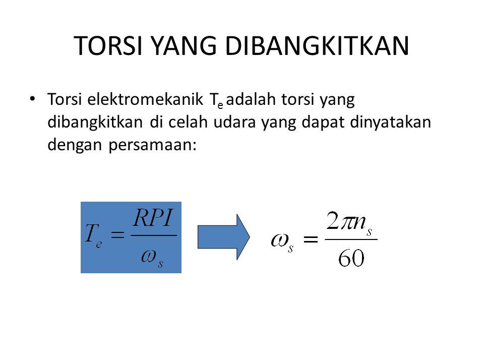 TORSI YANG DIBANGKITKAN Torsi elektromekanik T e adalah torsi yang dibangkitkan di celah udara yang dapat dinyatakan dengan persamaan: