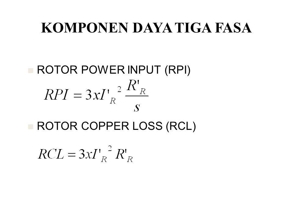 KOMPONEN DAYA TIGA FASA ROTOR POWER INPUT (RPI) ROTOR COPPER LOSS (RCL)