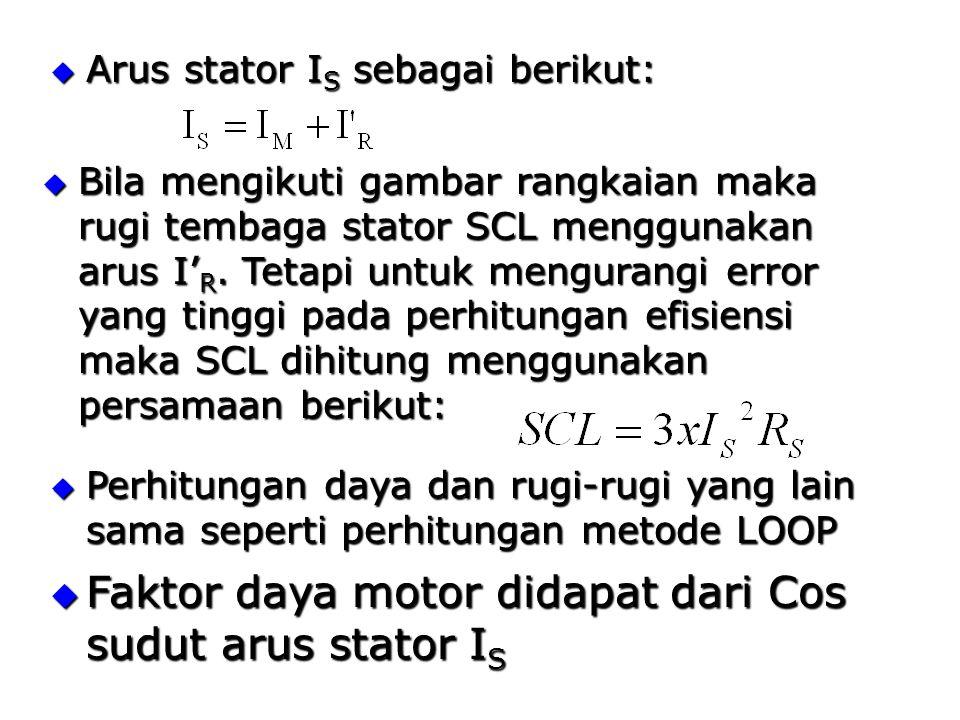  Arus stator I S sebagai berikut:  Bila mengikuti gambar rangkaian maka rugi tembaga stator SCL menggunakan arus I' R.