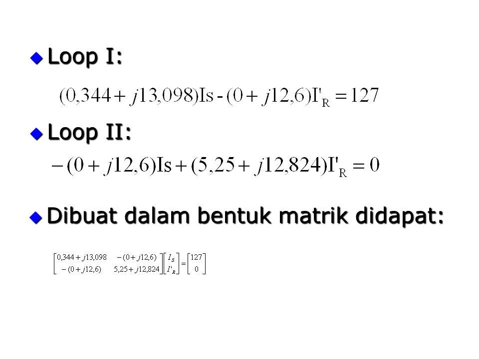  Loop I:  Loop II:  Dibuat dalam bentuk matrik didapat: