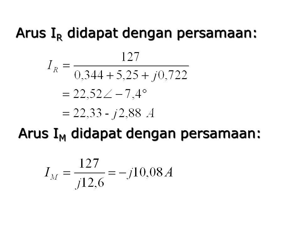 Arus I R didapat dengan persamaan: Arus I M didapat dengan persamaan: