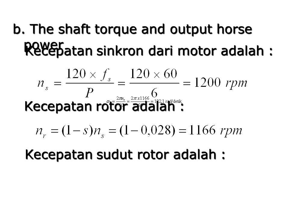 b. The shaft torque and output horse power Kecepatan sinkron dari motor adalah : Kecepatan rotor adalah : Kecepatan sudut rotor adalah :