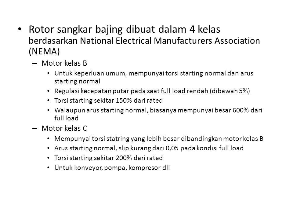 Rotor sangkar bajing dibuat dalam 4 kelas berdasarkan National Electrical Manufacturers Association (NEMA) – Motor kelas B Untuk keperluan umum, mempu