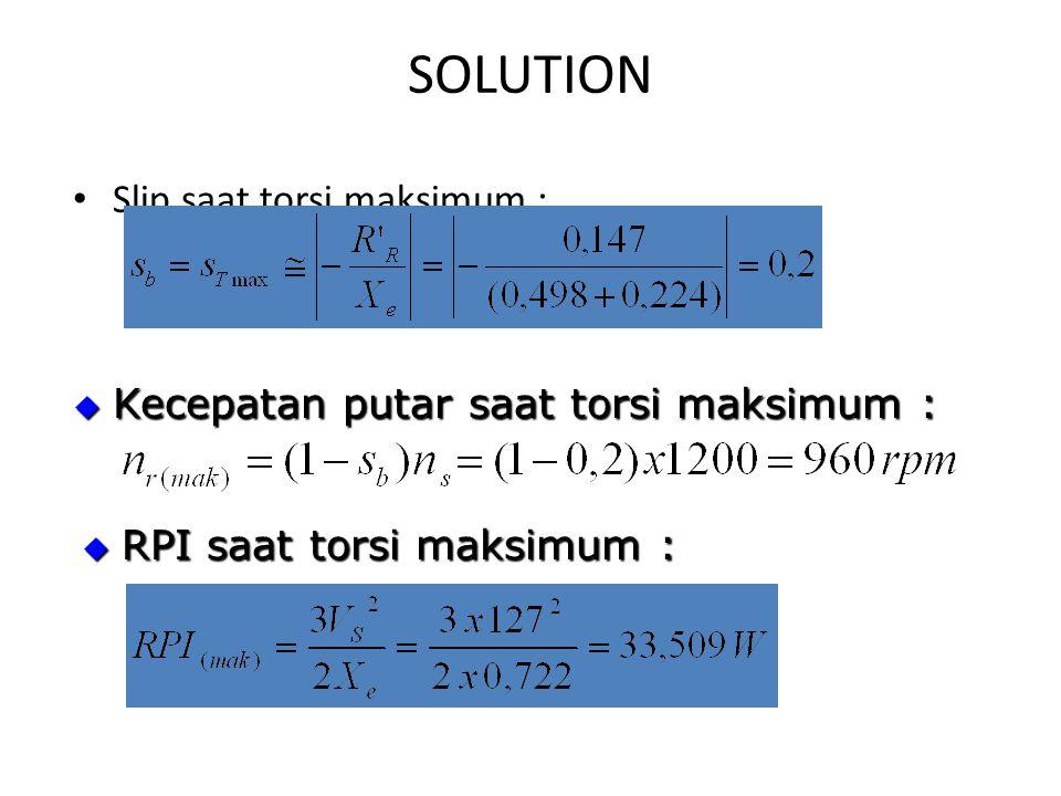 SOLUTION Slip saat torsi maksimum :  RPI saat torsi maksimum :  Kecepatan putar saat torsi maksimum :