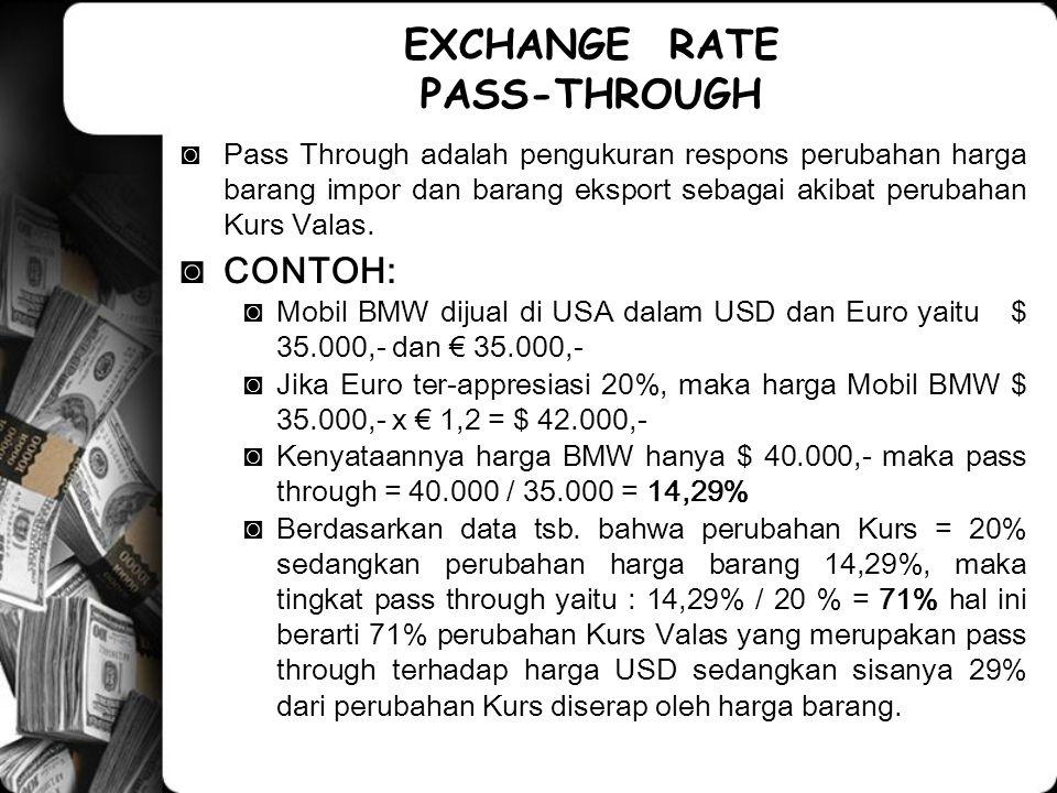 ◙Pass Through adalah pengukuran respons perubahan harga barang impor dan barang eksport sebagai akibat perubahan Kurs Valas.