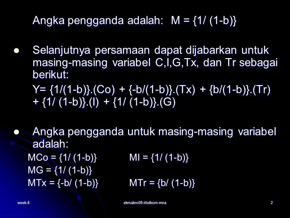 week-4ekmakro08-ittelkom-mna2 Selanjutnya persamaan dapat dijabarkan untuk masing-masing variabel C,I,G,Tx, dan Tr sebagai berikut: Selanjutnya persam
