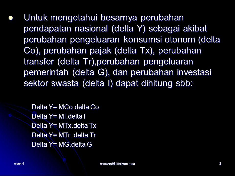 week-4ekmakro08-ittelkom-mna3 Untuk mengetahui besarnya perubahan pendapatan nasional (delta Y) sebagai akibat perubahan pengeluaran konsumsi otonom (