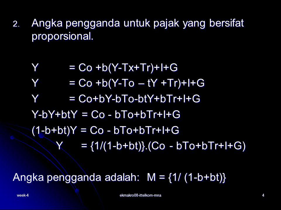 week-4ekmakro08-ittelkom-mna5 Angka pengganda adalah: M = {1/ (1-b-bt)} Selanjutnya persamaan dapat dijabarkan untuk masing-masing variabel C,I,G,Tx, dan Tr sebagai berikut: Selanjutnya persamaan dapat dijabarkan untuk masing-masing variabel C,I,G,Tx, dan Tr sebagai berikut: Y= {1/(1-b+bt)}.(Co) + {-b/(1-b+bt)}.(To) + {b/(1- b+bt)}.(Tr) + {1/ (1-b+bt)}.(I) + {1/ (1-b+bt)}.(G) Angka pengganda untuk masing-masing variabel adalah: Angka pengganda untuk masing-masing variabel adalah: MCo = {1/ (1-b+bt)}MI = {1/ (1-b+bt)} MG = {1/ (1-b+bt)} MTx = {-b/ (1-b+bt)}MTr = {b/ (1-b+bt)}