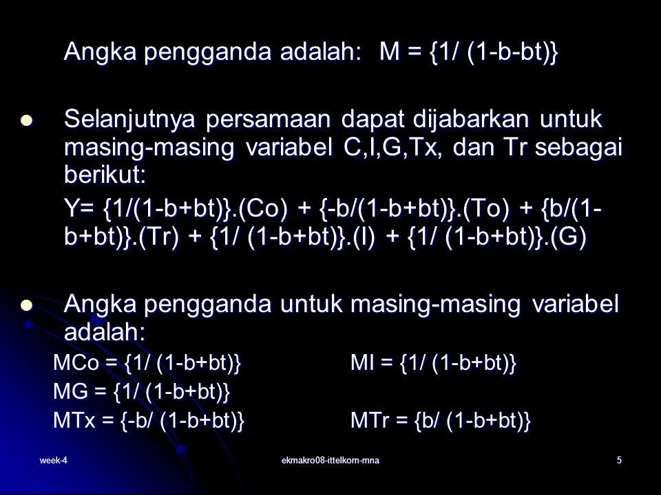 week-4ekmakro08-ittelkom-mna6 Angka pengganda perekonomian terbuka (empat sektor) Pendapatan nasional keseimbangan pada perekonomian tiga sektor: Pendapatan nasional keseimbangan pada perekonomian tiga sektor: Y= C+I+G+X-M Fungsi konsumsi C = Co + bYd Fungsi konsumsi C = Co + bYd pajak Tx=Txo + tY pajak Tx=Txo + tY Impor: M = mY; dimana m = MPM (marginal propensity to impor) Impor: M = mY; dimana m = MPM (marginal propensity to impor) Angka pengganda adalah: M = {1/ (1-b+bt+m)} = {1/ (1-MPC+MPC.t + MPM) } = {1/ (1-MPC+MPC.t + MPM) } = { 1/ (MPS+MPC.t +MPM)} = { 1/ (MPS+MPC.t +MPM)}