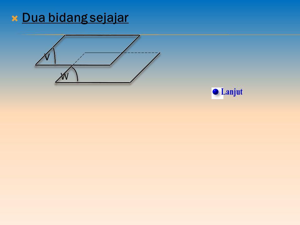 5. Kedudukan Bidang pada Bidang dalam Ruang Kemungkinan kedudukan sebuah bidang terhadap bidang lain dalam sebuah bangun ruang adalah: