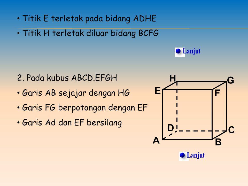 Titik E terletak pada bidang ADHE Titik H terletak diluar bidang BCFG