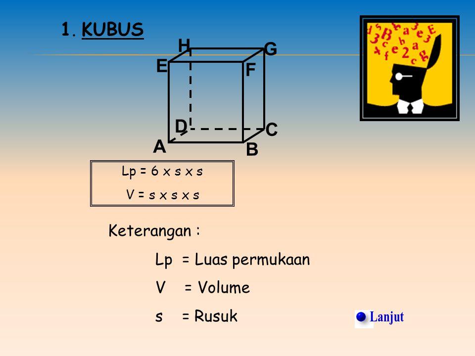 Titik E terletak pada bidang ADHE Titik H terletak diluar bidang BCFG 2. Pada kubus ABCD.EFGH Garis AB sejajar dengan HG Garis FG berpotongan dengan E