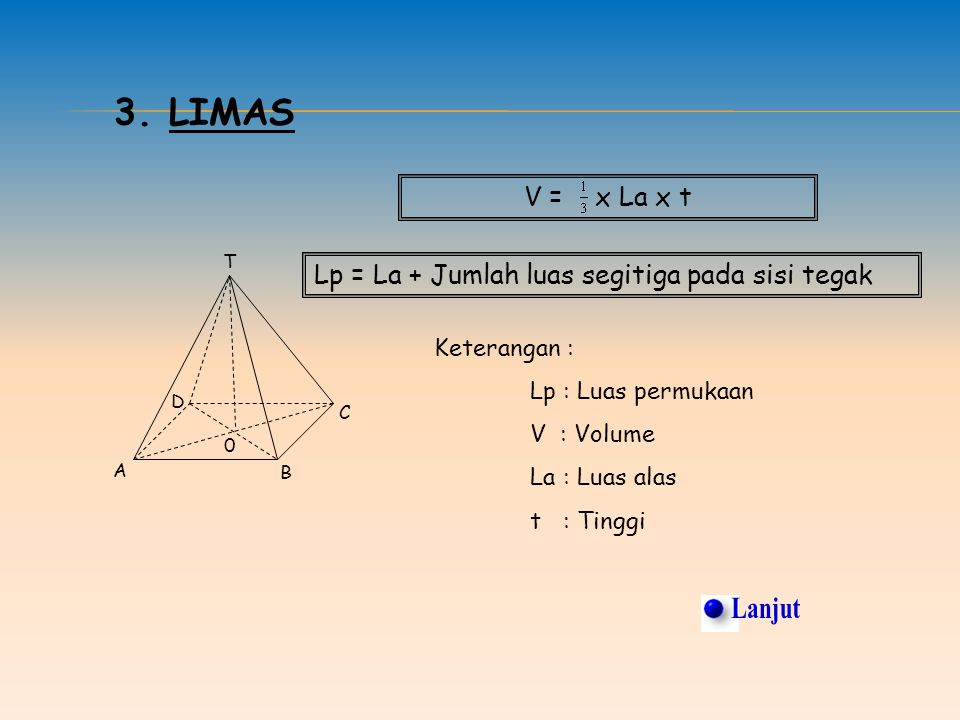 2. BALOK Keterangan : Lp = Luas permukaan V = Volume p = Panjang balok l = Lebar balok t = Tinggi balok Lp = 2 (p x l) + 2 (p x t) + 2 (l x t) V = p x